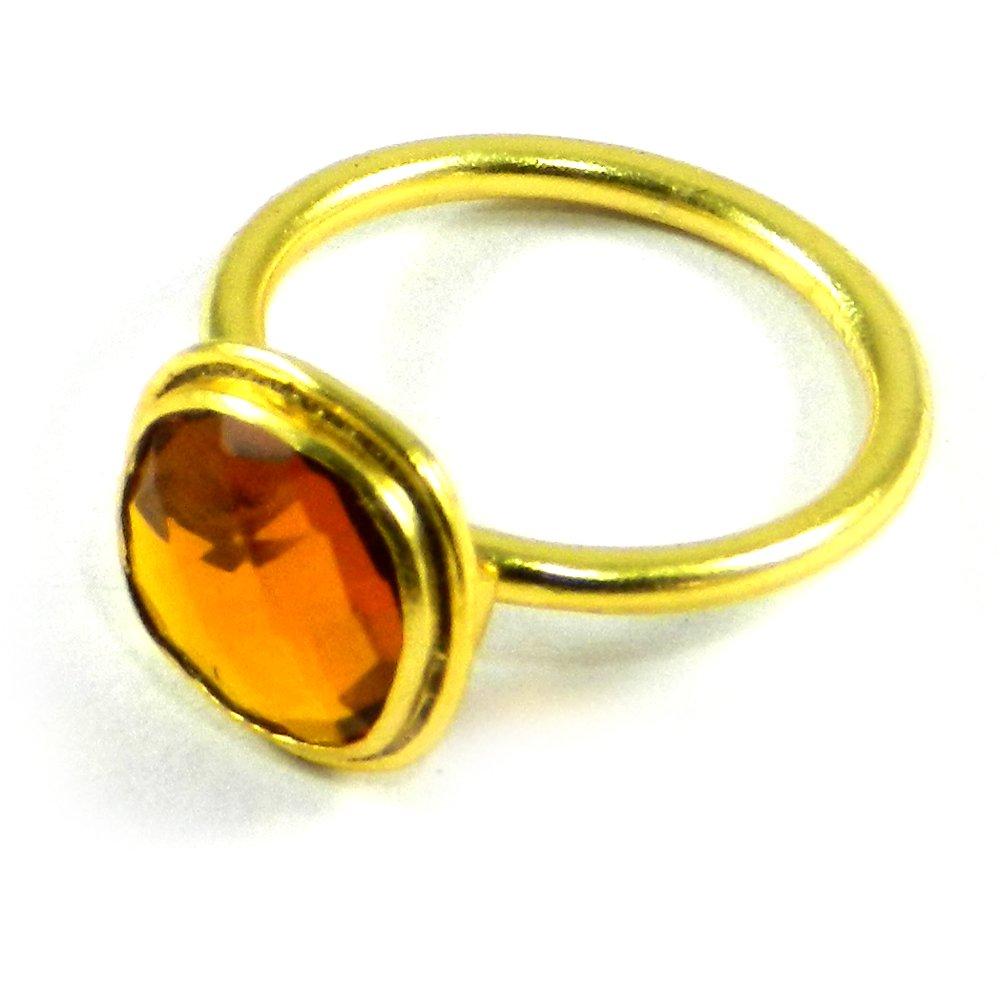 Cleopatra Citrine Hydro Gold Plated Bezel Ring