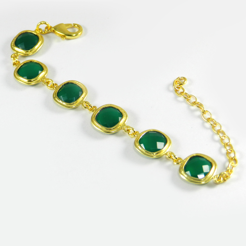 Cleopatra Green Onyx Gold Plated Designer 7.5