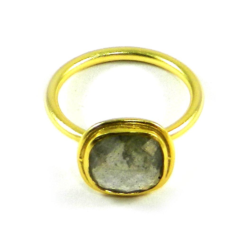 Cleopatra Labradorite Gold Plated Bezel Ring