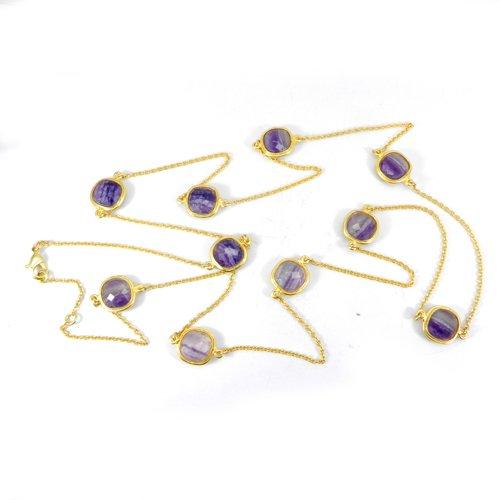 "Cleopatra Multi Fluorite Gold Plated 37"" Long Chain Bezel Set Necklace"