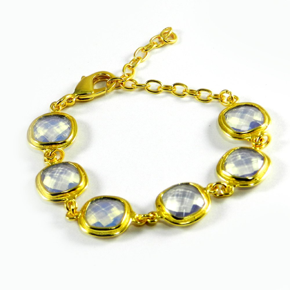 """Cleopatra Opalite Hydro Gold Plated Designer 7.5"""" Link Chain Bracelet"""