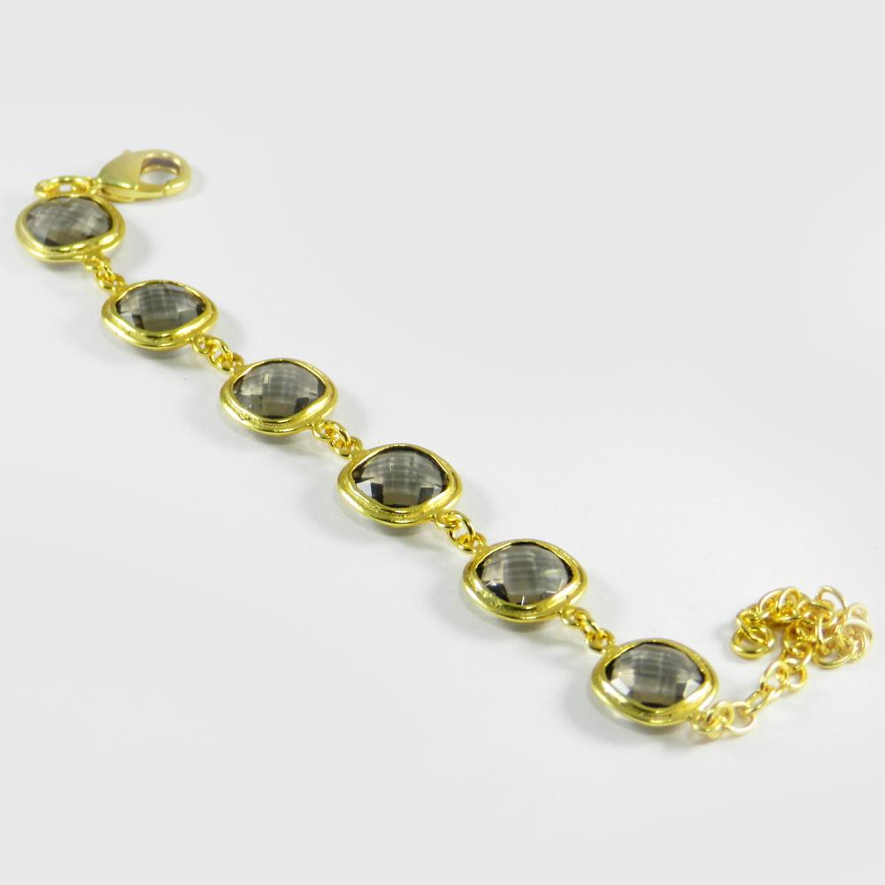 Cleopatra Smoky Quartz Gold Plated Designer 7.5