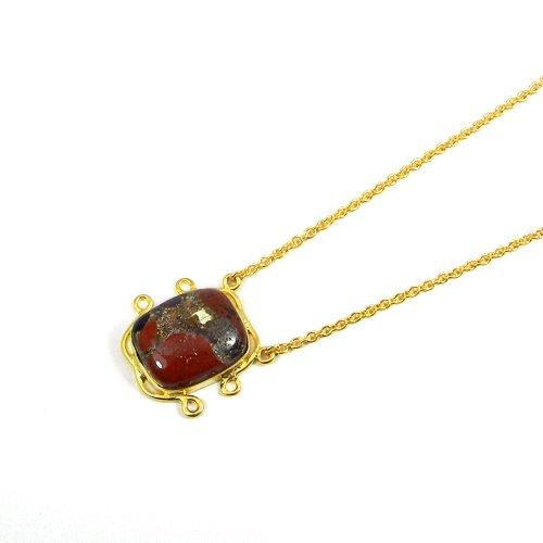 Conglomerate 925 Sterling Silver Gold Plated Bezel Set Designer Necklace