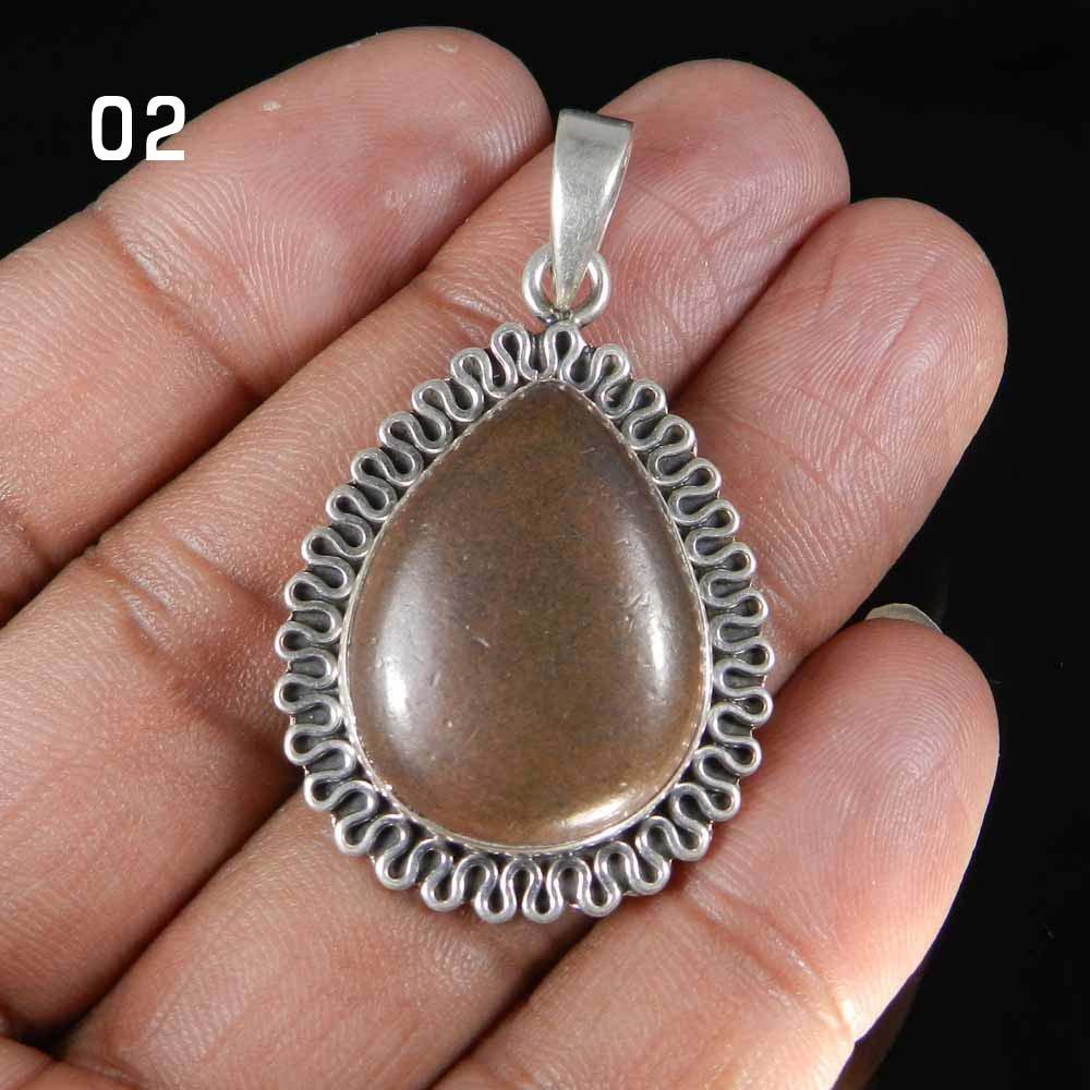 Copper Pyrite Designer 925 Sterling Silver Bezel Set Pendant