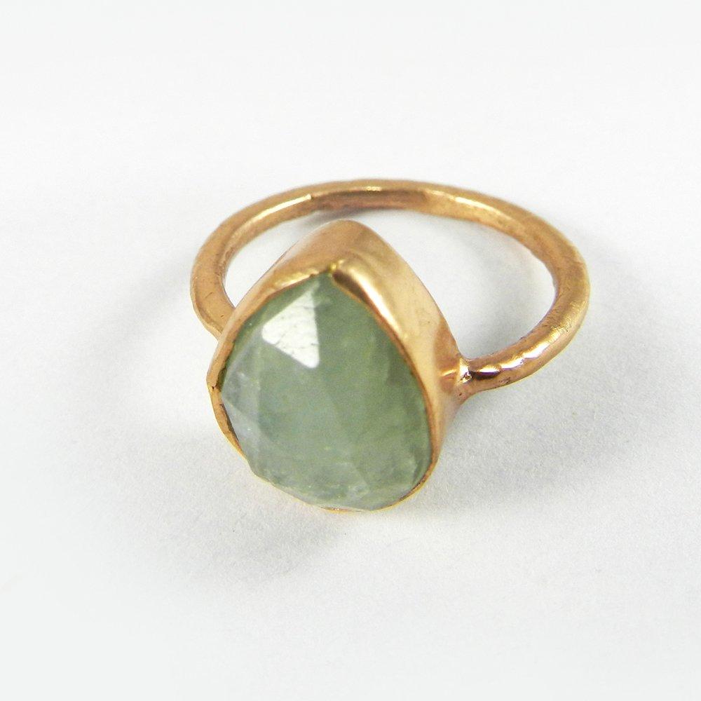 Cosima Aquamarine Rose Gold Plated Bezel Ring
