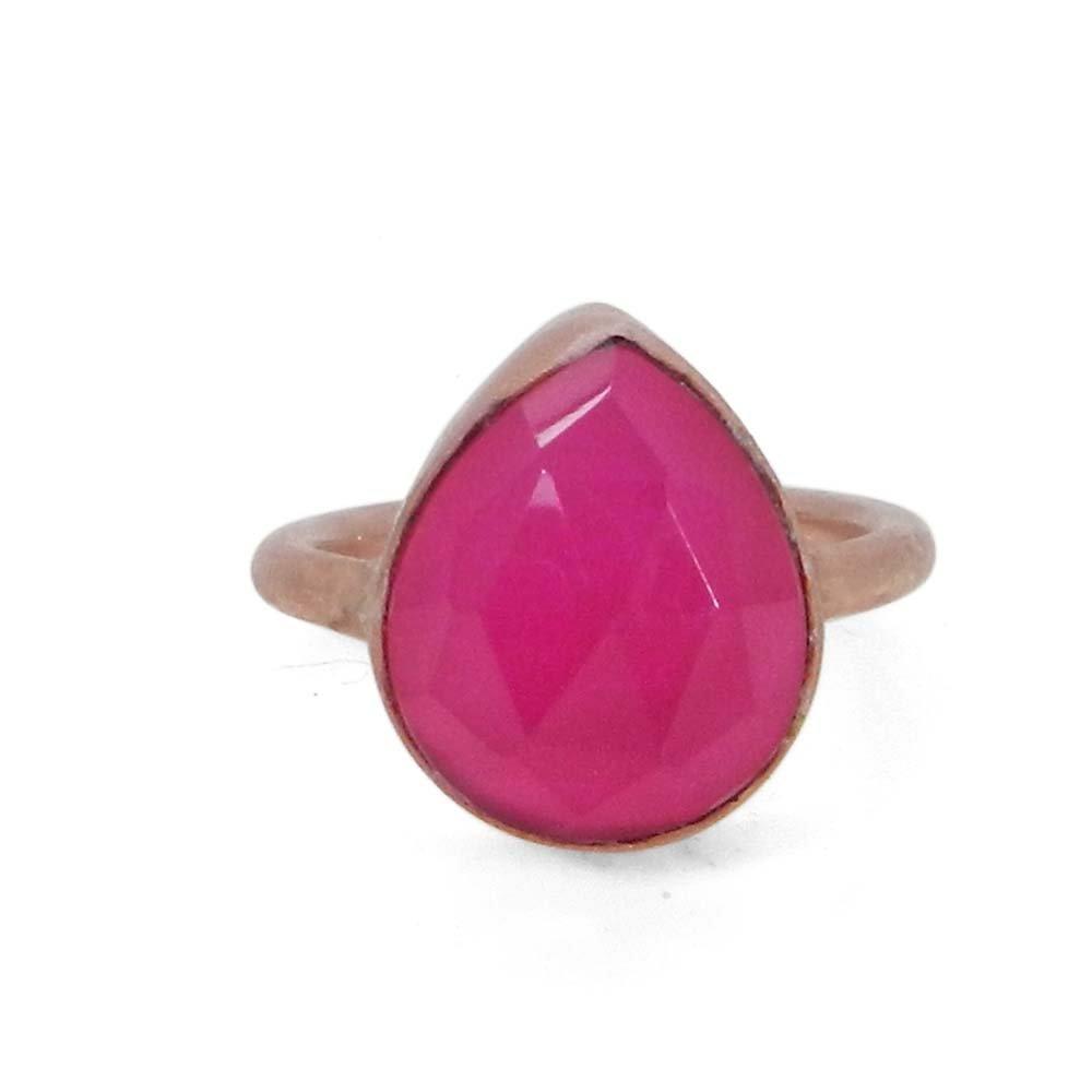 Cosima Fuchsia Chalcedony Rose Gold Plated Bezel Set Ring