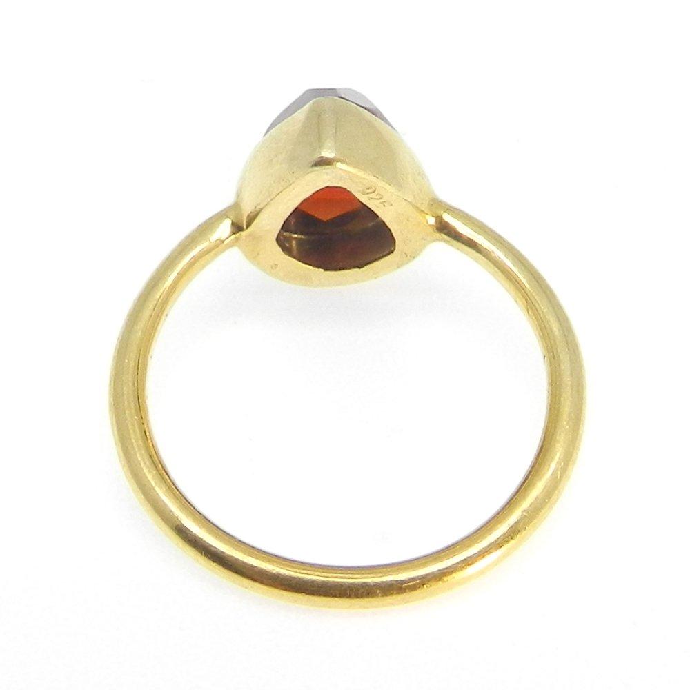 Cosima Garnet Hydro Silver Gold Plated Bezel Ring