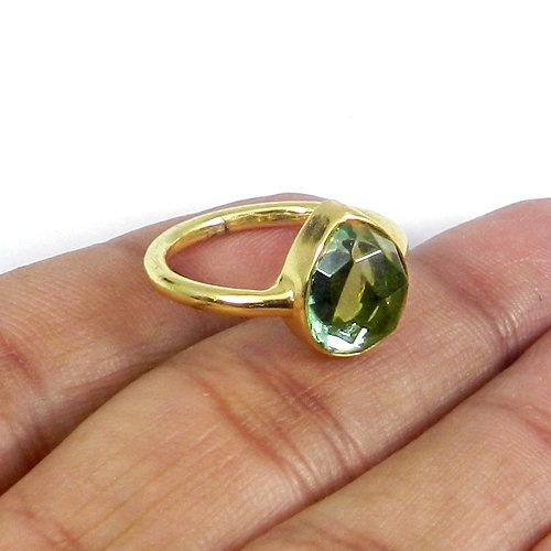Cosima Green Amethyst Hydro Gold Plated Bezel Set Handmade Ring