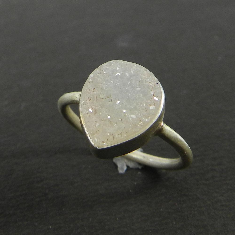 Cosima White Druzy 925 Sterling Silver Bezel Ring