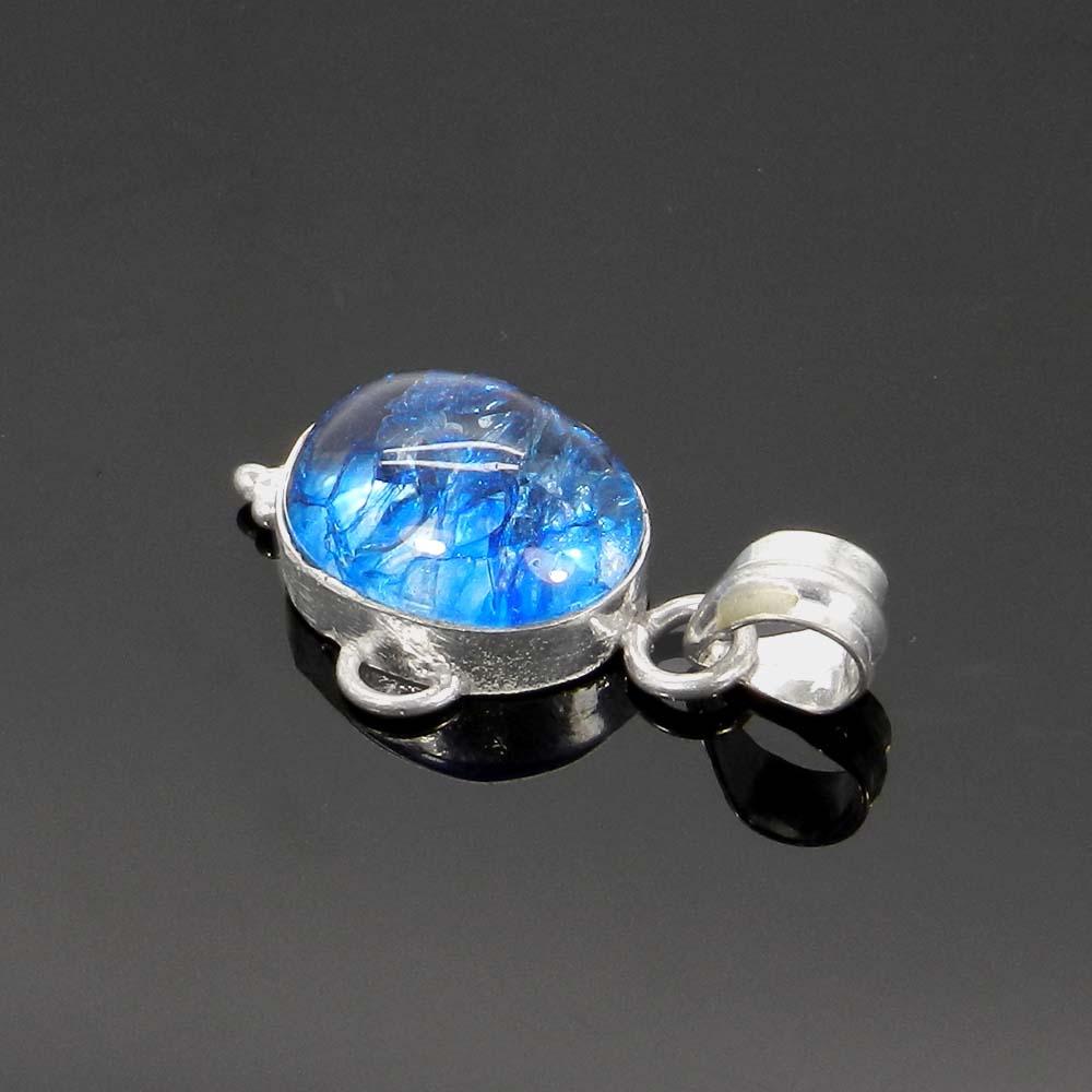 Crack Crackle Glass 925 Sterling Silver Designer Bezel Set Pendant