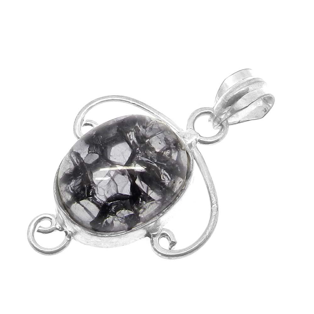 Crack Crackle Glass Designer 925 Sterling Silver Bezel Set Pendant