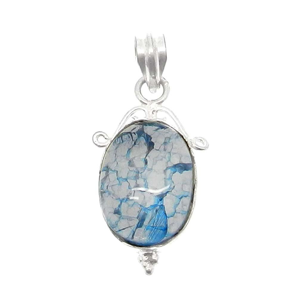Crack Crackle Glass Oval 925 Sterling Silver Bezel Set Pendant