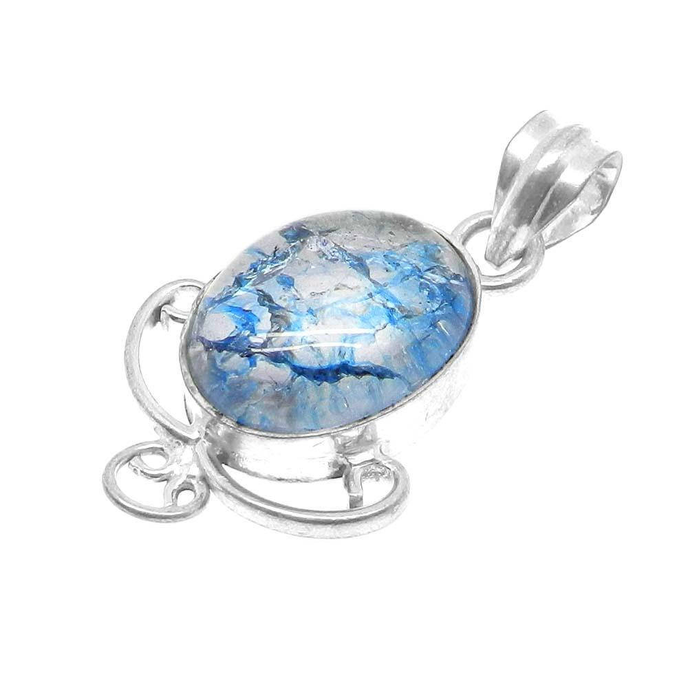 Crack Crackle Glass Oval Designer 925 Sterling Silver Bezel Set Pendant