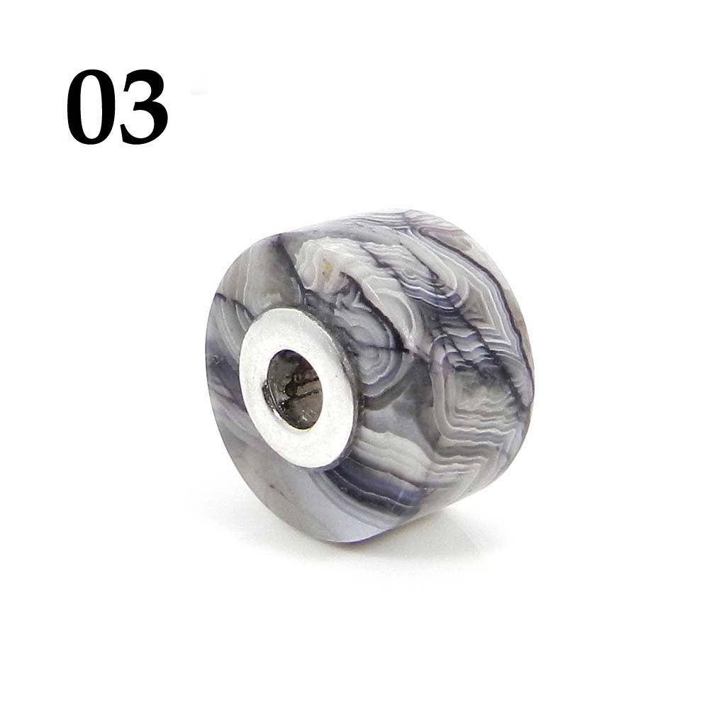 Crazy Lace Agate Smooth Flat Big Hole Silver Core Beads For Bracelet Making