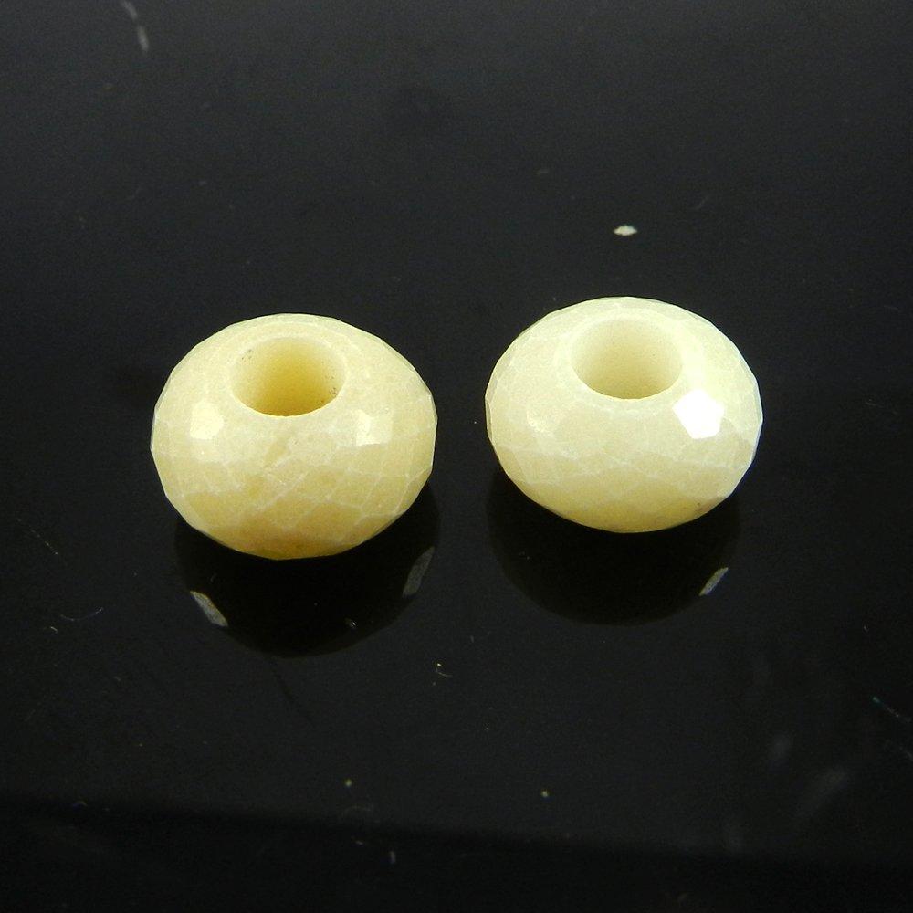 Cream Quartz Roundel Facet Big Hole Beads For Necklace Making