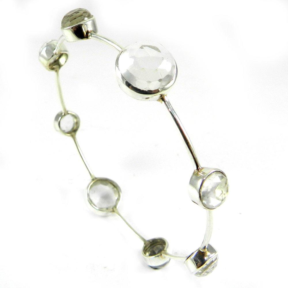 Crystal Quartz Gemstone 925 Sterling Silver Designer Bezel Bangle