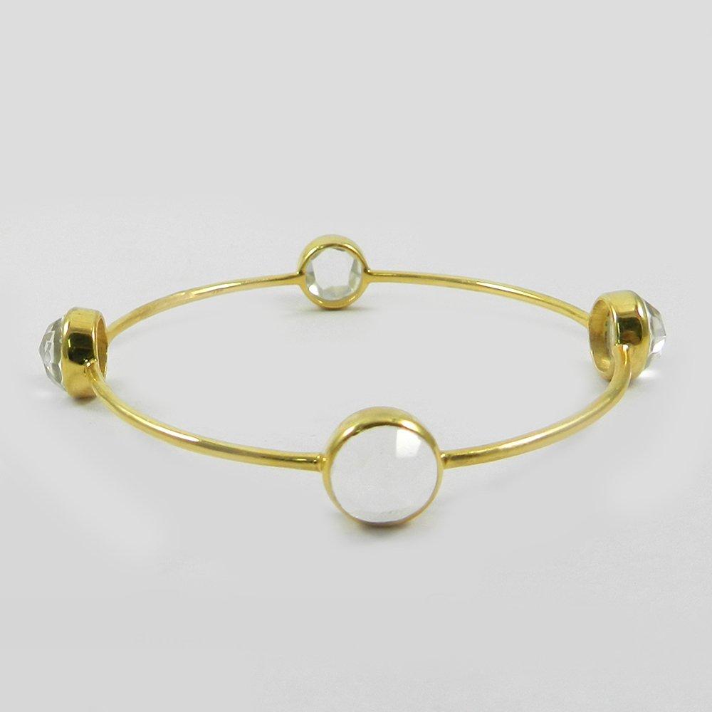 Crystal Quartz Gemstone Gold Plated Designer Bezel Bangle