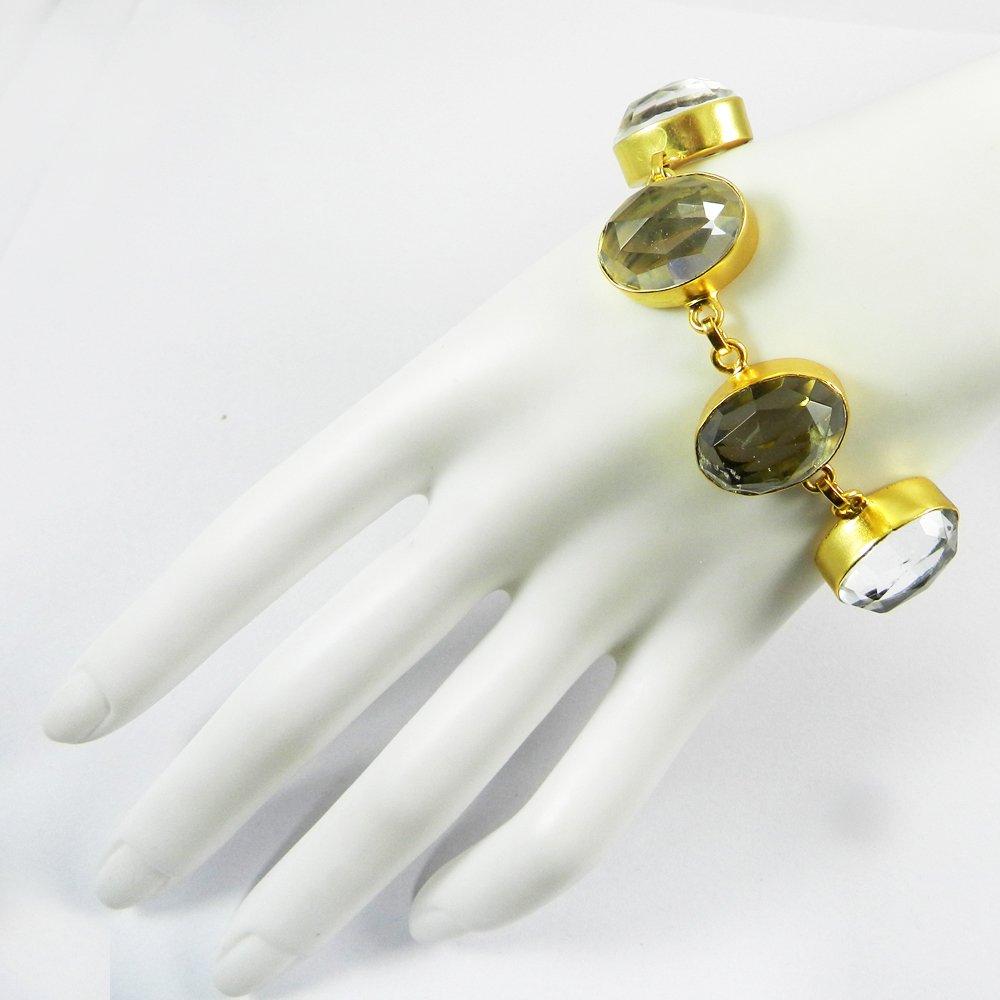 Crystal Quartz Gold Plated Designer Link Chain Bezel Bracelet