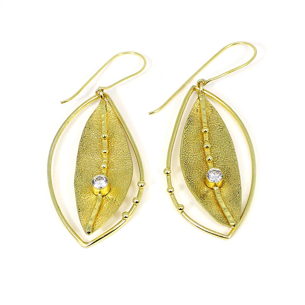 Cubic Zirconia Gemstone Brass Vermeil  Designer Earring