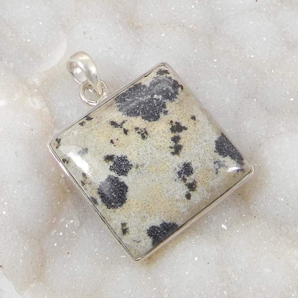 Dalmatian Jasper 925 Sterling Silver Designer Bezel Set Pendant