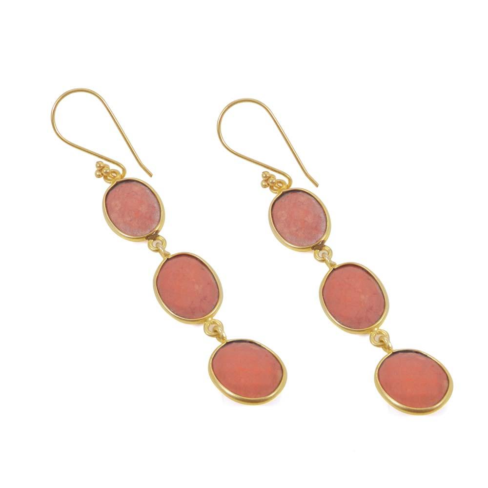 Damiani Gemstone Gold Plated Bezel Dangle Earring