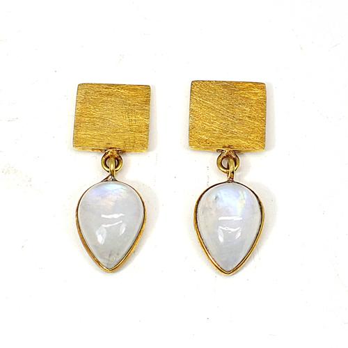 Dangle Charm Earring Natural Blue Fire Rainbow Moonstone Earring Brass Vermeil Earring Women Gypsy Stylish Drop Dangle Earring