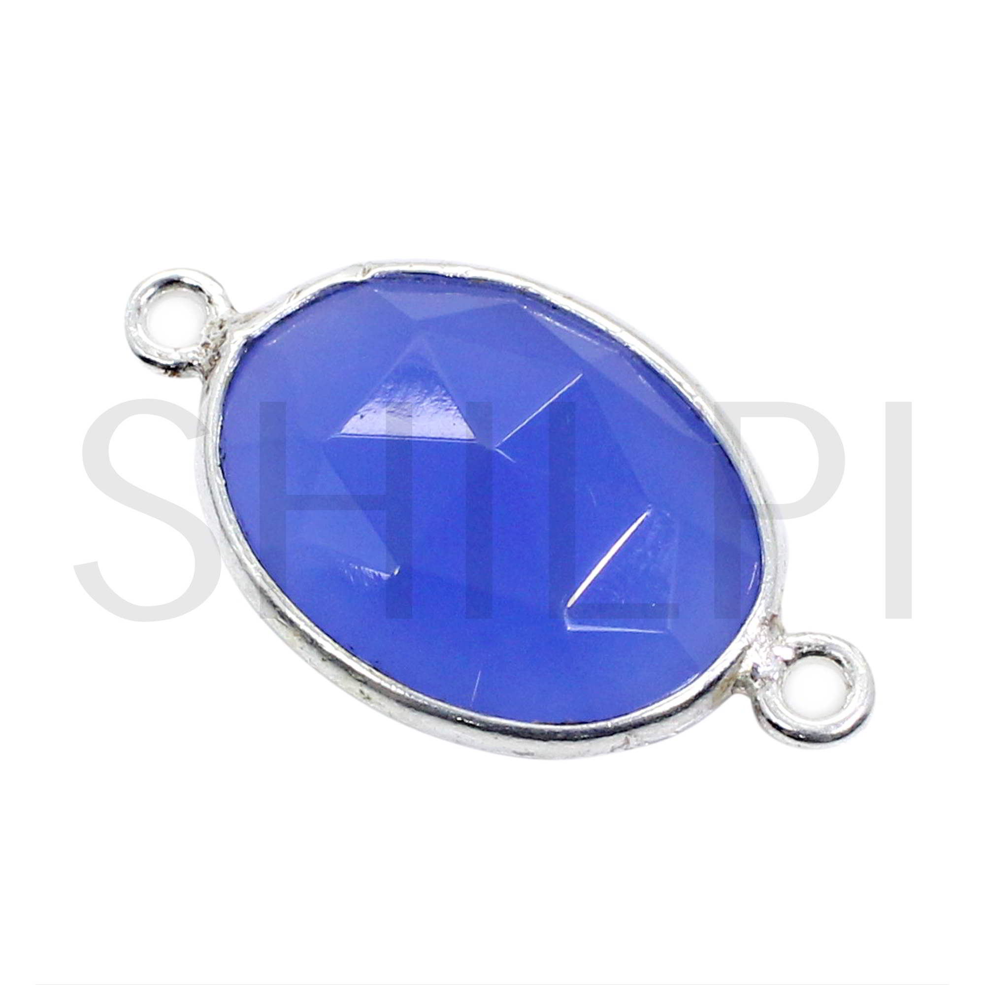 Dark Blue Chalcedony 925 Sterling Silver Double Loop Connector