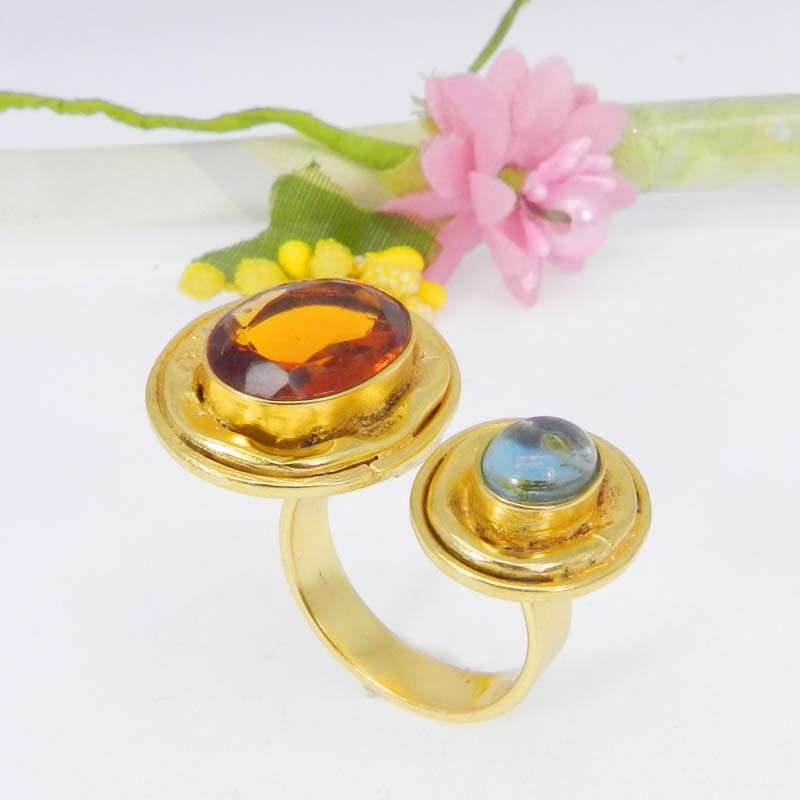 Dark Citrine & Blue Hydro Gold Plated Designer Adjustable Ring