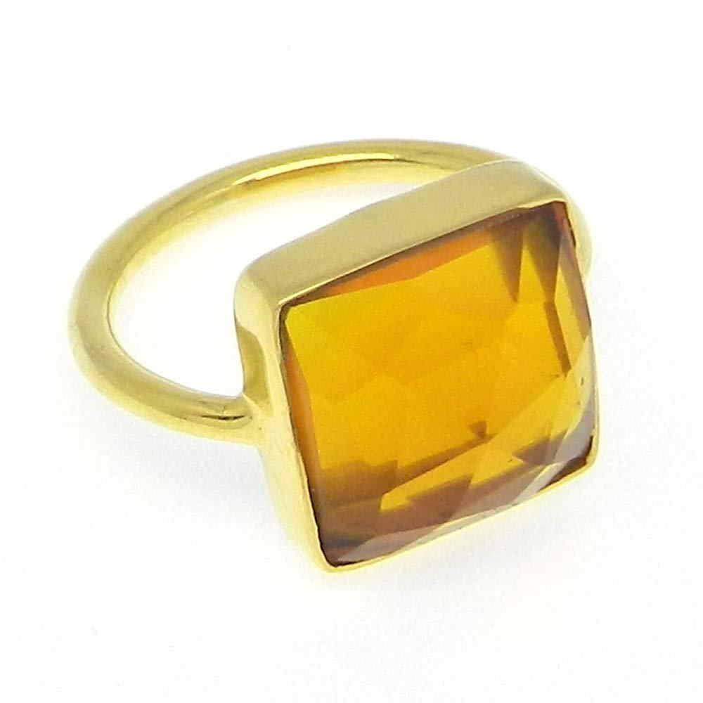 Dark Citrine Hydro 925 Sterling Silver Gold Plated Bezel Ring