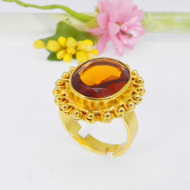Dark Citrine Hydro Gold Plated Handcrafted Adjustable Bezel Ring