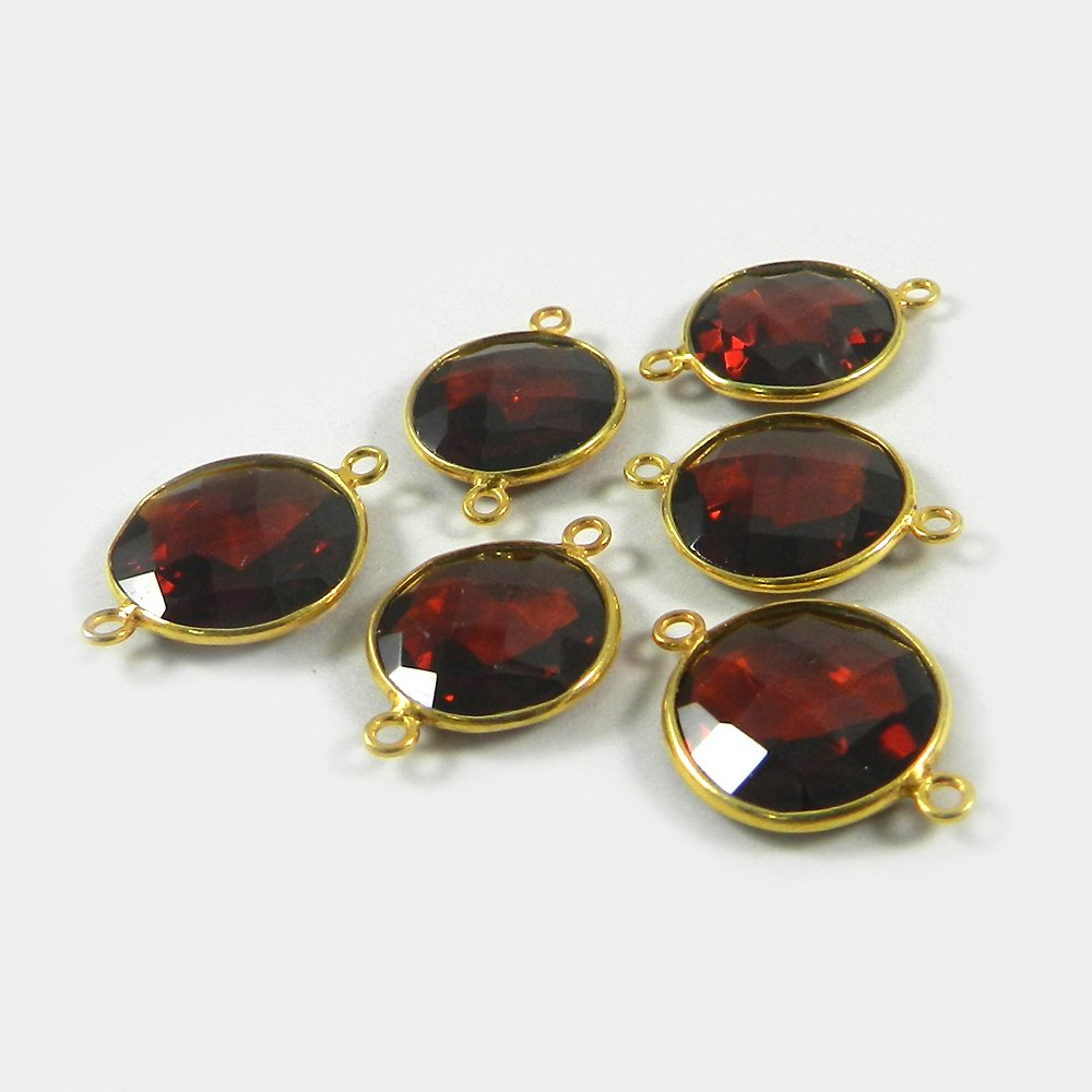 Dark Citrine Hydro Round 21x14mm 925 Sterling Silver Double Loop Connector