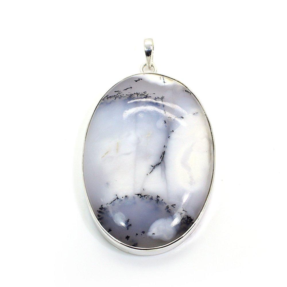 Dendritic Agate Silver Pendant