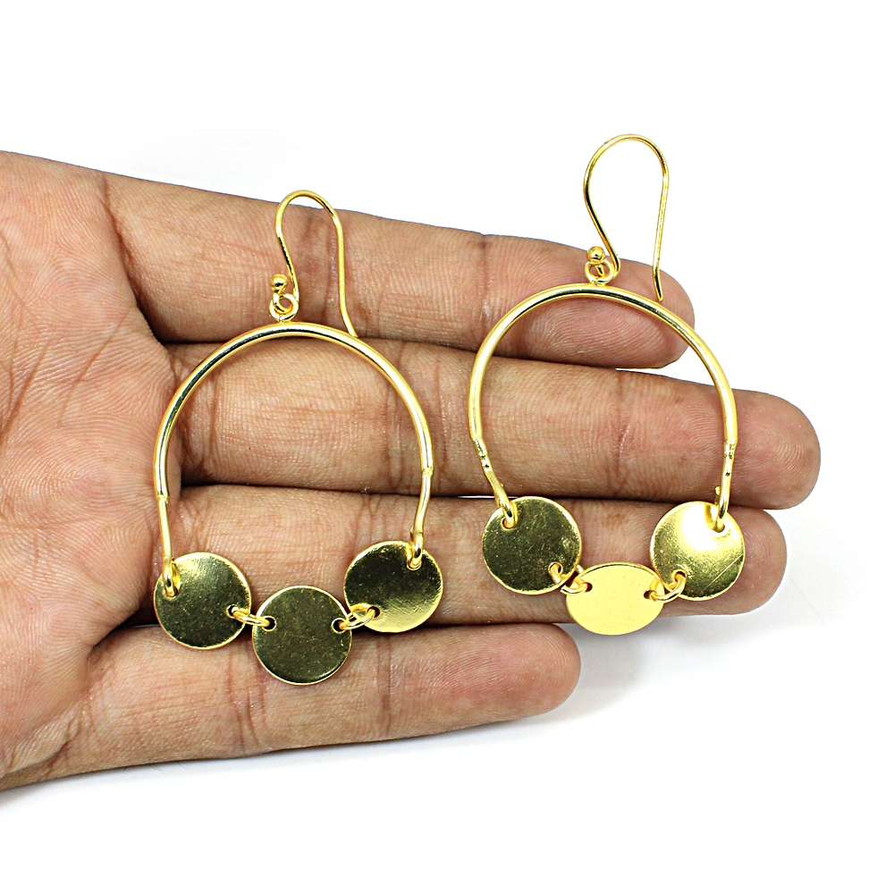 Designer Coin Charms Brass Gold Plated Dangle Earring