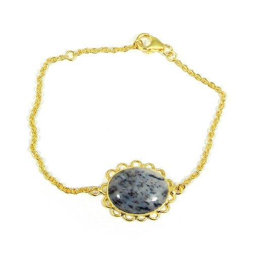 "Designer Dendritic Opal 925 Silver Gold Plated 7.5"" Chain Bracelet"