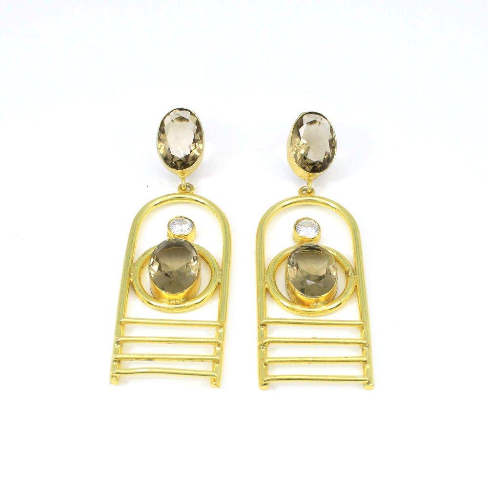 Designer Gold Plated Cocktail Zirconia Smoky Glass Gemstone Earring