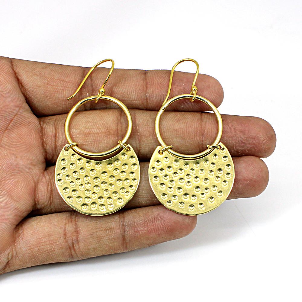 Designer Hammered Brass Gold Plated Dangled Earring