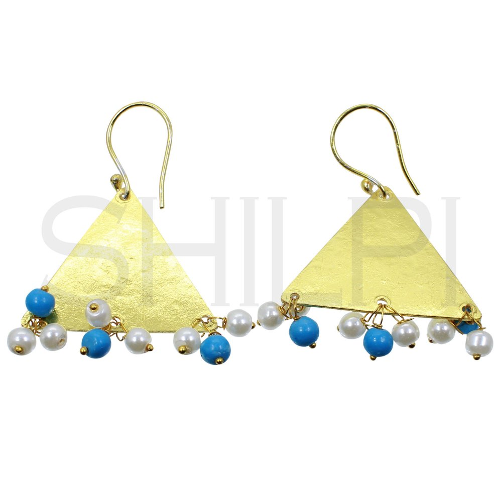 Designer Hammered Gold Plated Triangle With Pearl Beads Dangle Earrings
