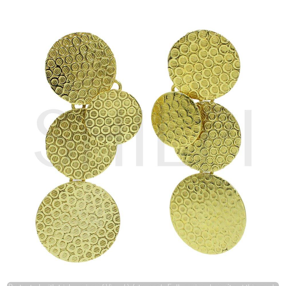 Designer Round Gold Plated Handmade Stud Earrings
