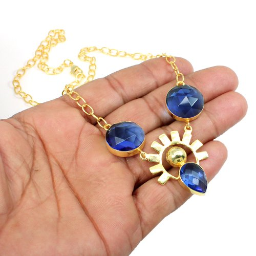 Elegant Collection Blue Topaz Hydro Necklace Gold Plated Necklace Women Statement Necklace