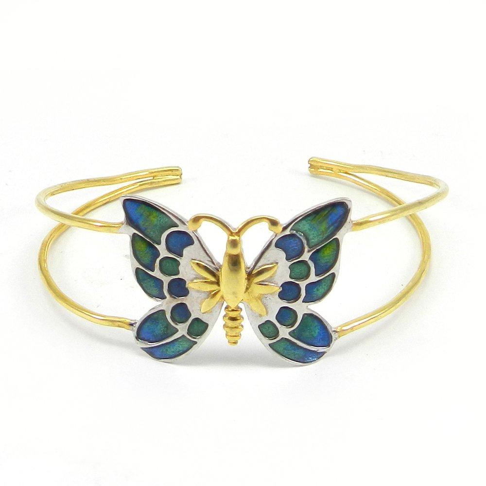 Enamel Blue Butterfly Shape 925 Sterling Silver Adjustable Bracelet