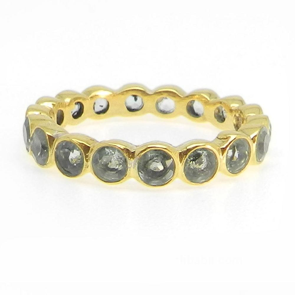 Eternity Green Amethyst Silver Bezel Ring