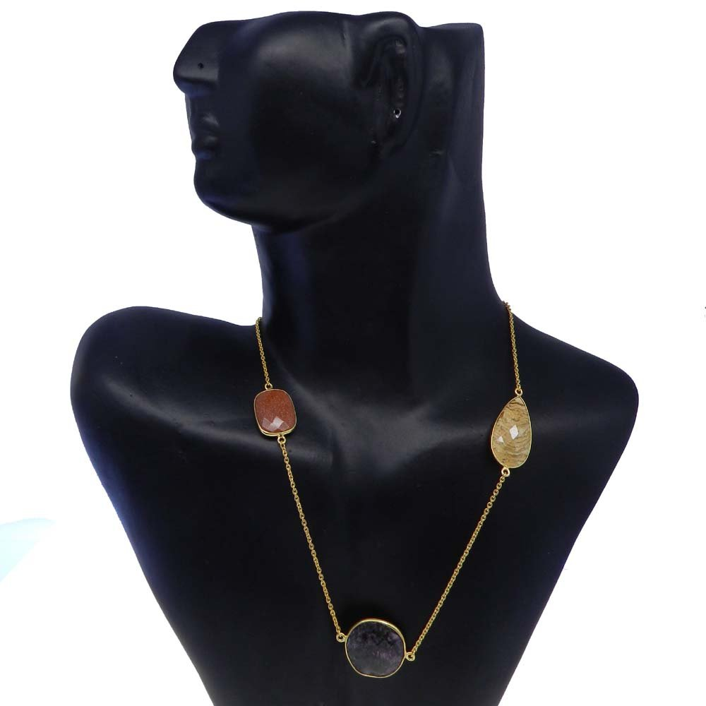 Eudialyte,Picture Jasper,Goldstone Gold Plated 22 inch Long Chain Necklace