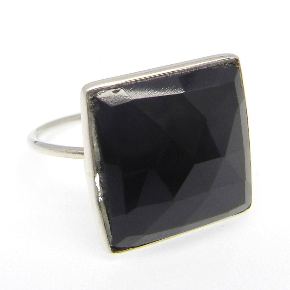 Exclusive Selling Natural Black Onyx Gemstone Ring Solid 925 Sterling Silver Ring Bohemian Handmade Ring