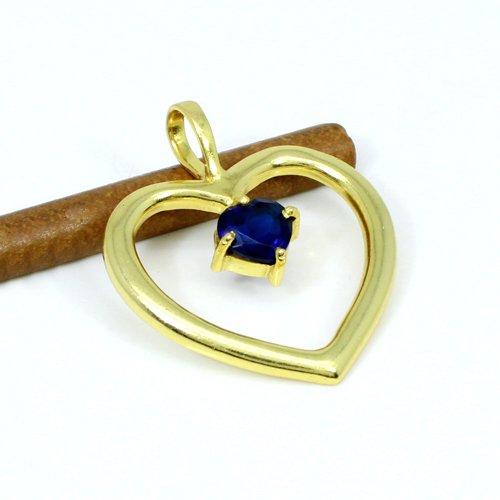 Exclusive Selling Natural Ink Blue Hydro Gemstone Pendant Heart Designer Romantic Pendant Brass Gold Plated Women Pendant