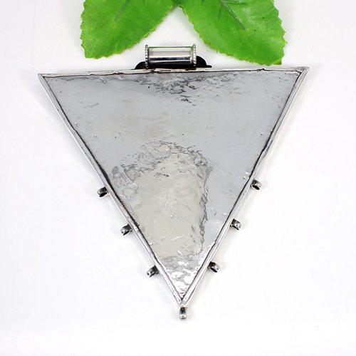 Exotic Boho Collection Lord Radha Krishna Pendant Triangle Designer Handmade Pendant Solid 925 Sterling Silver Pendant