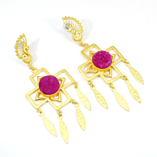 Exotic Collection Pink Druzy Gemstone Earring Peacock Designer Earring Brass Long Hanging Dangling Wedding Anniversary Gift