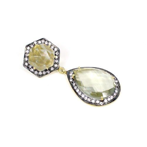 Exotic Selling Lemon Hydro & Cz Gemstone Pendant Solid 925 Sterling Silver Pendant Stylish Women Gold Plated Pendant