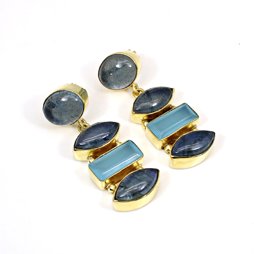 Exquisite Collection Labradorite Doublet & Aqua Chalcedony Gemstone Earring Brass Gold Plated Stud Earring Boho Handmade Drops