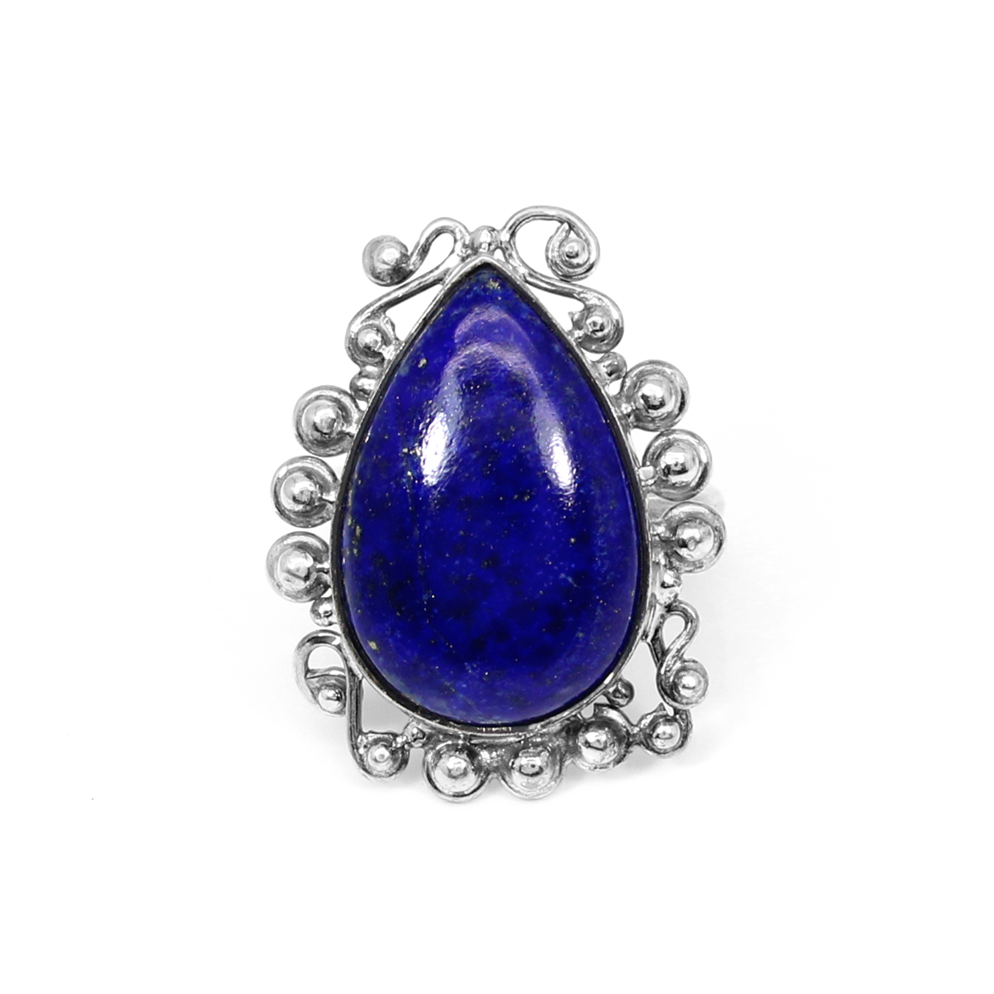 Exquisite Collection Natural Afghani Lapis Lazuli Gemstone Ring Solid 925 Sterling Silver Ring Designer Pear Cabochon Ring