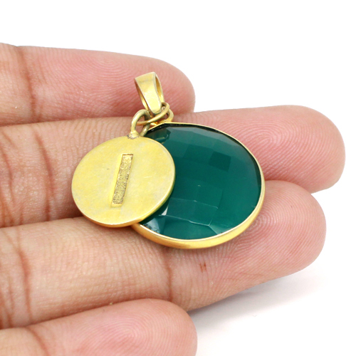 Exquisite Collection Natural Green Onyx Gemstone Pendant Designer Boho Gold Plated Pendants I Letter Personalized Pendant